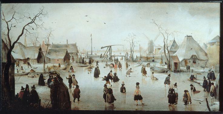 Hendrick Avercamp, IJsvermaak bij een dorp  Gemaakt; 1608, gemaakt in: Kampen, genre: (winters) landschap. Aan dit schilderij valt op dat het nu echt om het landschap gaat, er is een goed licht-donker contrast, wat extra opvalt door de sneeuw en het ijs. Je ziet nu eigenlijk het dagelijkse leven buiten. Ook valt me op hoe goed de lucht is gemaakt, in de verte is het mist, maar dichterbij wordt het steeds helderder en kan je ook wolken onderscheiden.