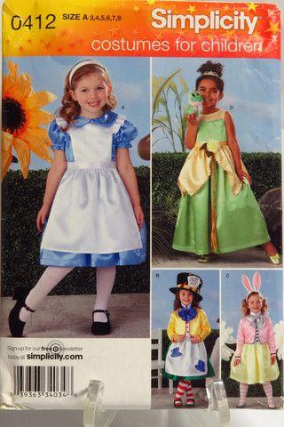 Simplicity 0412 Child's Alice in Wonderland Costumes