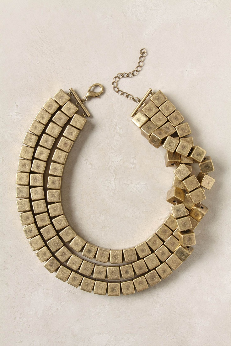 learning to wear collar necklace - Triple Prism Necklace