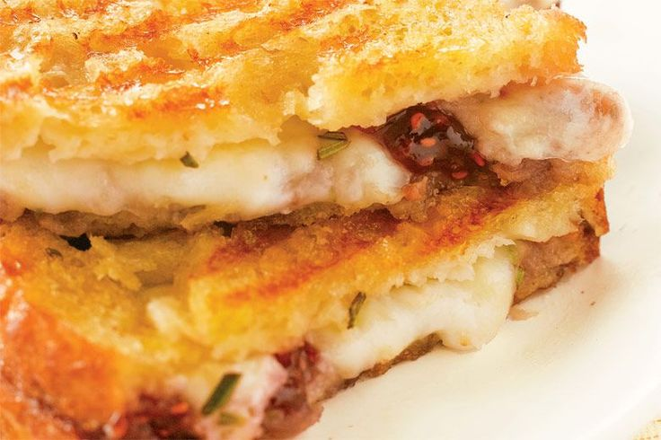 Mozzarella, Raspberry, and Brown Sugar Panini Recipe by Giada De Laurentiis | This dish brings together sweet and savory flavors in a way that is insanely good. The cheese melts into the raspberry jam and, combined with the brown sugar, makes this surprisingly addictive.