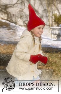 Jacket in Eskimo and felted Christmas hat and felted mittens in Alaska ~ DROPS Design