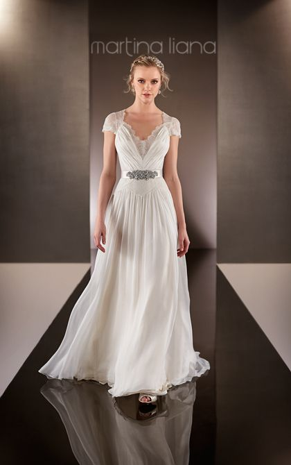 Martina liana style 574 refined lace and parisian silk for Sheath wedding dress with cap sleeves