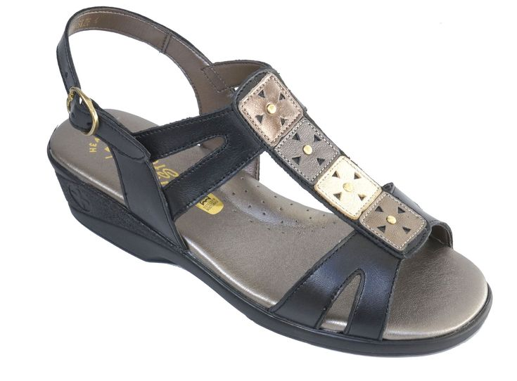 Natural Steps Handmade Genuine Leather Low Wedge Health Sandal. R 609. Colour: Black/Metallic. Handcrafted in Durban, South Africa. Code: 828  SOLD OUT