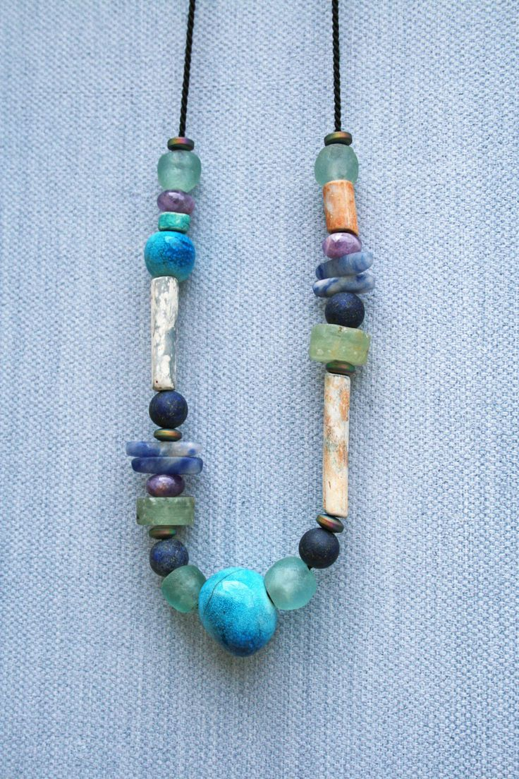 Boho Tribe beaded ceramic necklace/ handmade porcelain/ blue Raku crackle beads/ eclectic gemstones/ vintage clay pipe/ unique gift for her by CopperLarkStudio on Etsy