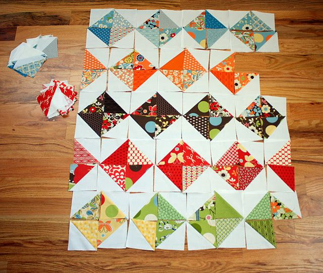 fun layouts for hst quilts - used a consistent light fabric with charm pack