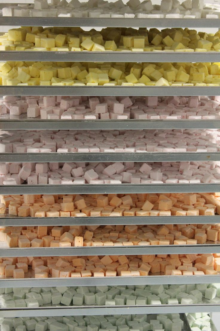 An array of flavoured marshmallow in the Bennetts of Mangawhai factory.