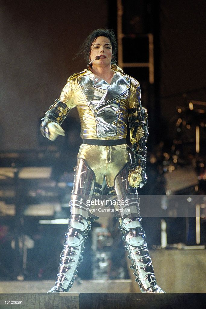American singer songwriter Michael Jackson performs live on stage at the Sydney Cricket Ground during his 'HIStory' world concert tour on November 14, 1996 in Sydney, Australia.