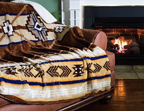 "Cozy Fleece Oversized Southwestern Throw with Reverse Sherpa, 60 x 80"", Neutral"