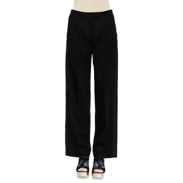 Alexander Mcqueen Flat-Front Tuxedo Trousers (6,390 MXN) ❤ liked on Polyvore featuring pants, black, flat front tuxedo pants, tuxedo stripe pants, flat front pants, straight leg trousers and tuxedo pants