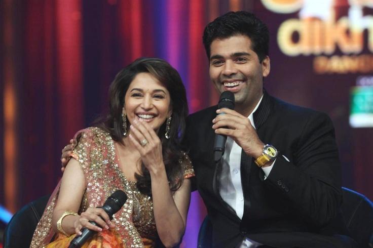"Madhuri and Karan and Karan Johar on the Set of ""Jhalak Dikhala Jaa"" Season 5.   Bollywood Cleavage"