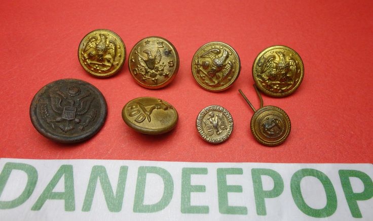 8 Vintage Military Gold Tone Waterbury Steele & Johnson, POD + Buttons assorted find me at www.dandeepop.com