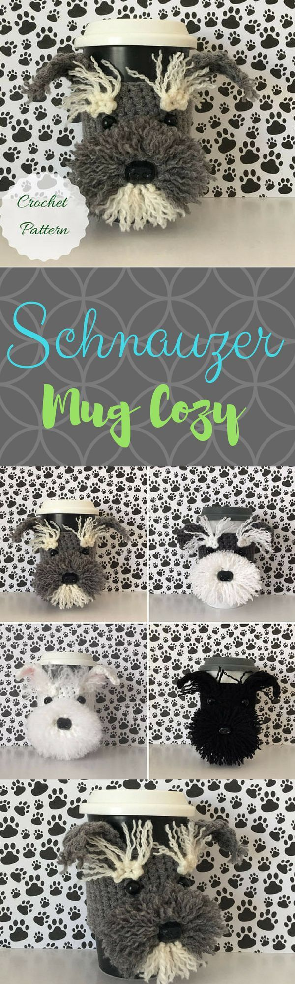 Schnauzer Crochet Pattern, Mug Cozy Pattern, Amigurumi Dog, Crochet Pattern Dog, Crochet Dog Pattern, Dog Crochet Pattern, Tea Cozy Pattern #crochet #schnauzer #mugcozy #coffee #affiliate