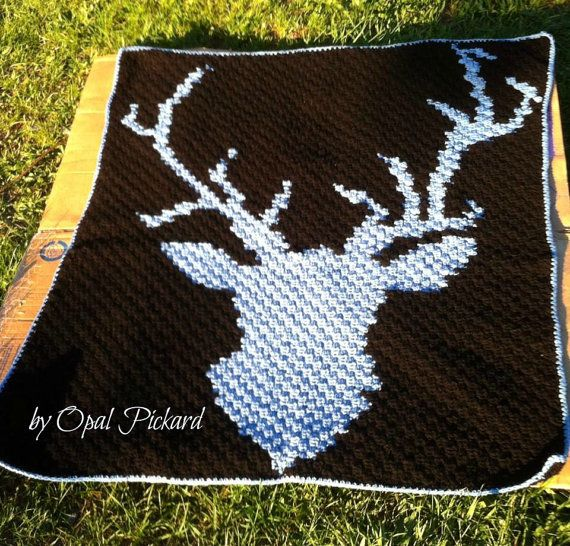 Deer Head Afghan C2C Graph and Written Word Chart by CrochetCouch