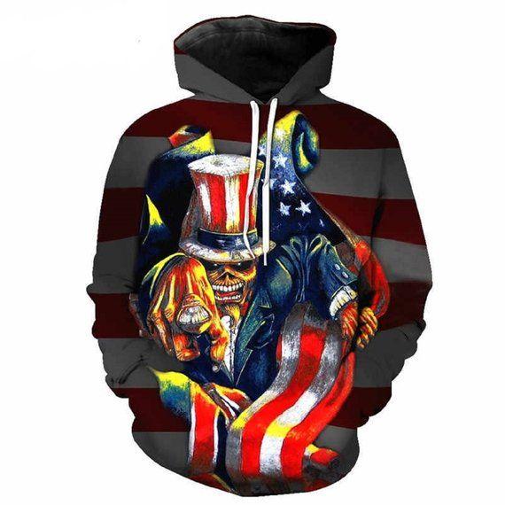 zippern American Flag Cool Skull 3D Printed Sweatshirts Hoodie Hip Hop Long Sleeve Outwears