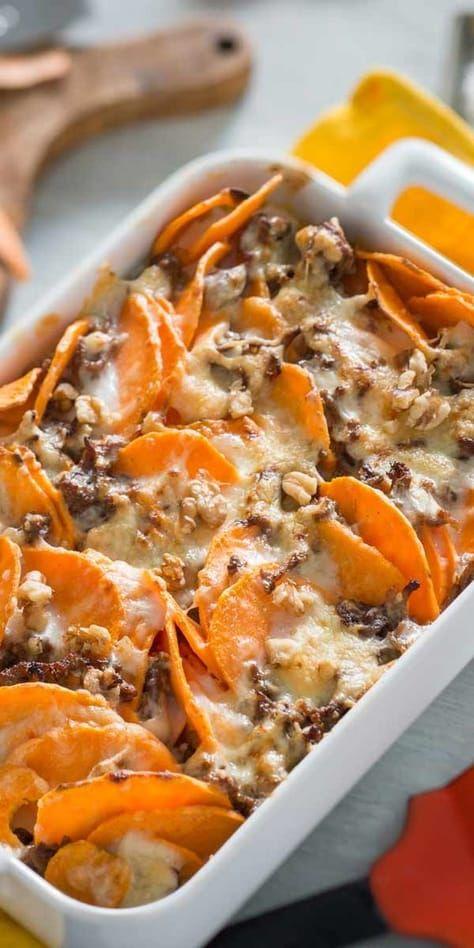 Batata-doce e carne moída   – Süsskartoffelauflauf