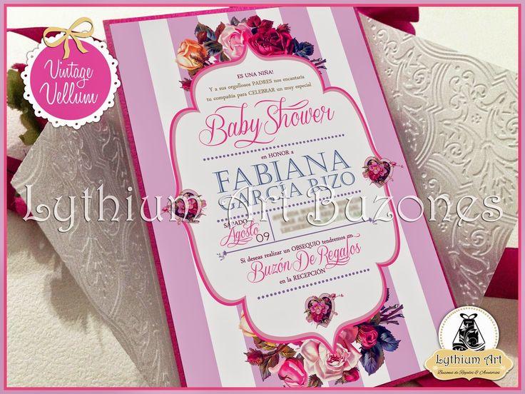 "Invitaciones para Baby Shower ""Vintage Vellum"" Lythium Art® / Design by: Yil Siritt"