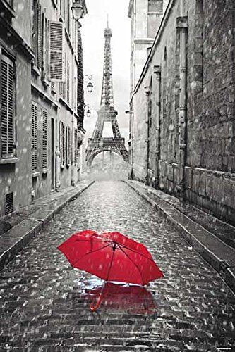 Wieża Eiffla Parasolka - plakat