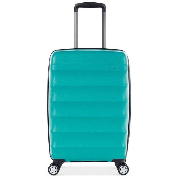 "Antler Juno Dlx 20"" Hardside Expandable Spinner Carry-On Suitcase (120.620 CLP) ❤ liked on Polyvore featuring bags, luggage and teal"