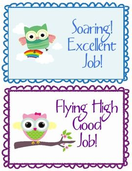 Soaring High Owl Theme Behavior Clip Chart Free
