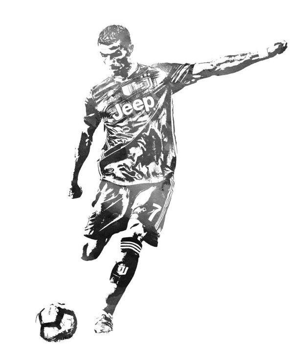 Cristiano Ronaldo Juventus Water Color Pixel Art 2 Art Print