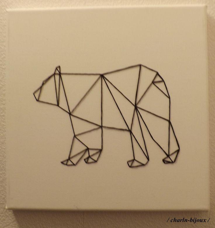 Tableau toile ours géométrique noir