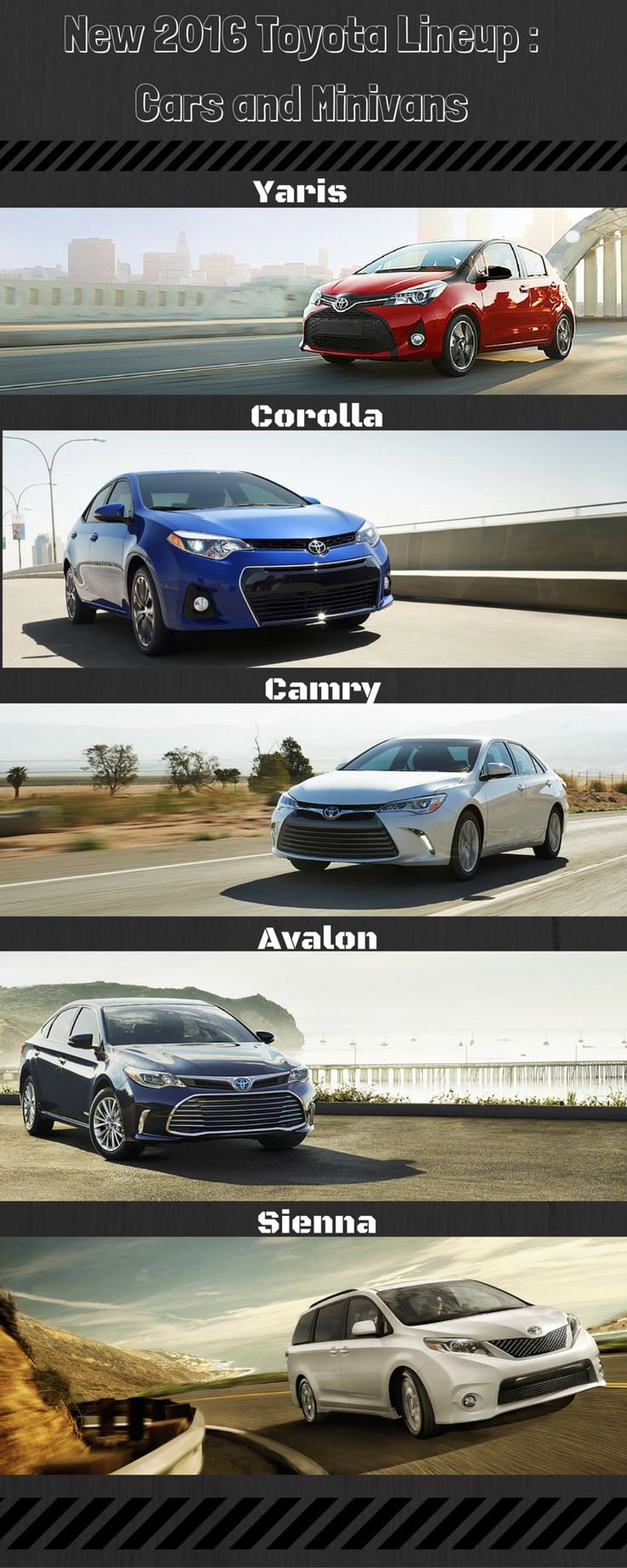 The new 2016 Toyota Lineup: Cars and Minivans! http://www.lakesidetoyota.com/