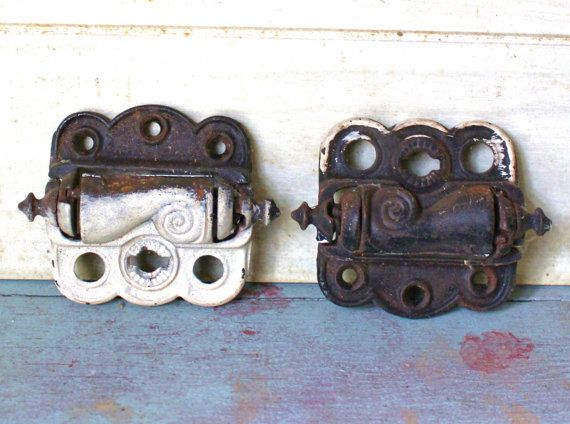 Antique Cast Iron Spring Loaded Hinges  Rusty by MuzettasWaltz, $30.00