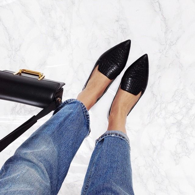 A fashion look by LookMazing featuring Asos Mimi Pointed Flat Shoes - Black,  Ivanka Trump Zessios Pointed Loafer Flats, Milly Crossbody - Isabella  Pebble ...