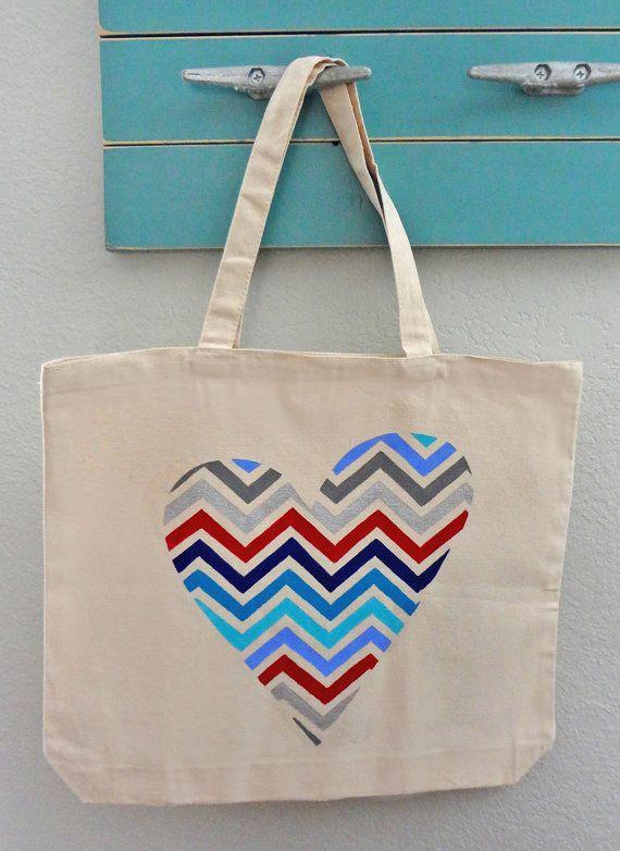 Chevron Heart Tote Bag  beach bag purse or by RadBagGear on Etsy, $19.95