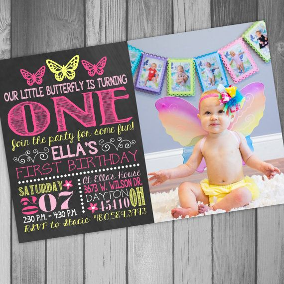 Butterfly Birthday Invitation Butterfly 1st by CLaceyDesign