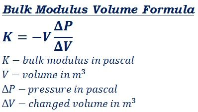 formula to calculate bulk modulus volume @ http://ncalculators.com/mechanical/bulk-modulus-volume-pressure-calculator.htm