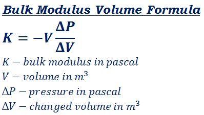 formula to calculate bulk modulus volume @ http://ncalculators.com/mechanical/bulk-modulus-volume-pressure-calculator.htm