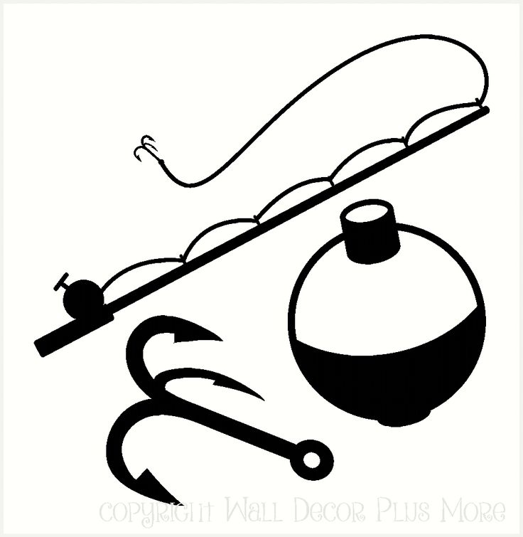 Wall Decor Plus More - Fishing tackle - pole, bobber, and hook Wall Decal Vinyl Stickers, $27.27 (http://www.walldecorplusmore.com/fishing-tackle-pole-bobber-and-hook-wall-decal-vinyl-stickers/)