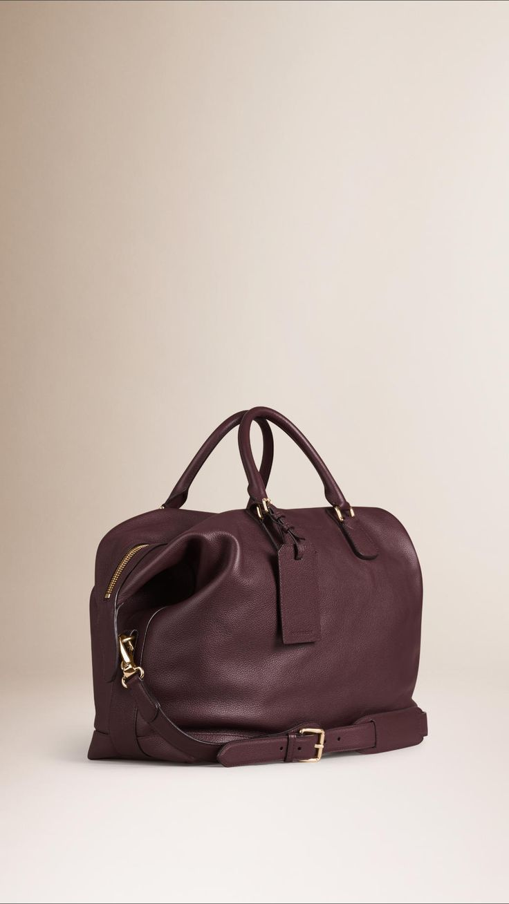 Grainy Leather Holdall Mahogany Red | Burberry