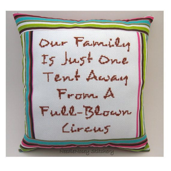 Funny Cross Stitch Pillow, Funny Quote, Multicolor Striped Pillow, Family Quote on Wanelo