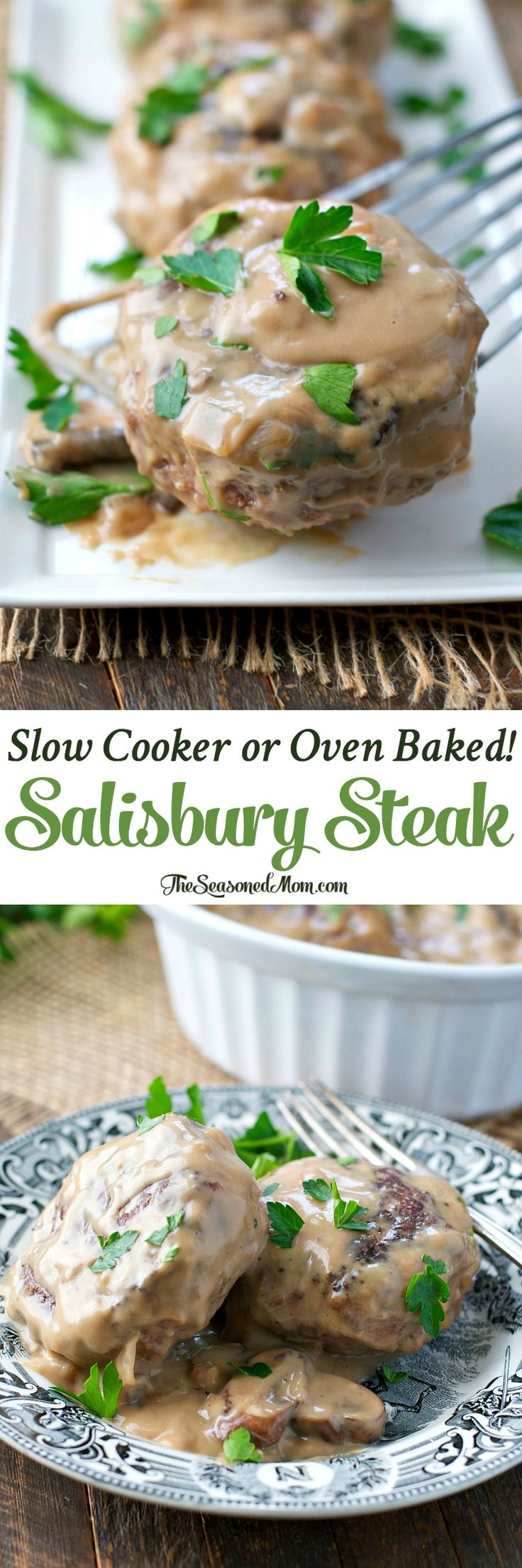 Slow Cooker or Oven Baked Salisbury Steak with Mushroom Gravy! Salisbury Steak Recipe | Salisbury Steak Crock Pot | Slow Cooker Recipes | Crock Pot Recipes | Dinner Recipes | Dinner Ideas | Ground Beef Recipes