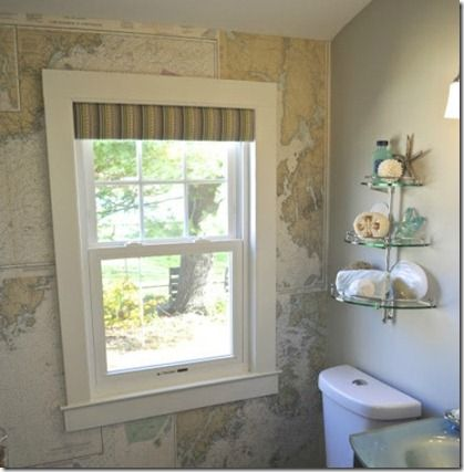 Love maps?  Get some map decor inspiration and view a tutorial for turning old maps into wallpaper at Remodelaholic.