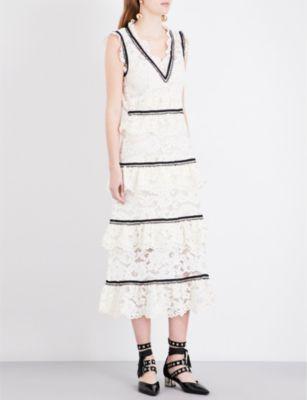 SELF-PORTRAIT Lace-tiered midi dress