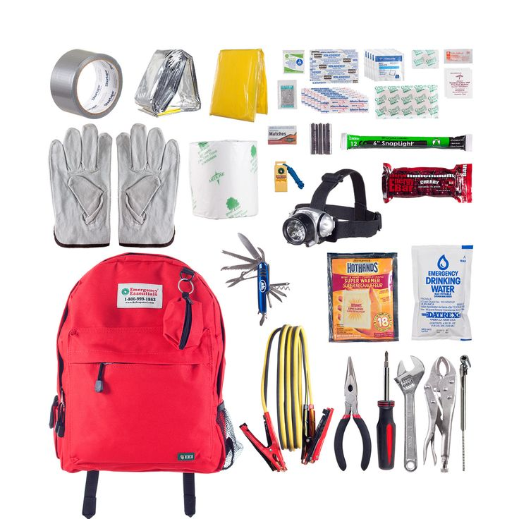 The Deluxe Auto Emergency Combo includes an Auto Emergency Kit (a basic assortment of emergency supplies), an Auto Tool kit (basic tools to help address car problems on the road) and 12-foot jumper cables—all packed in a medium backpack.