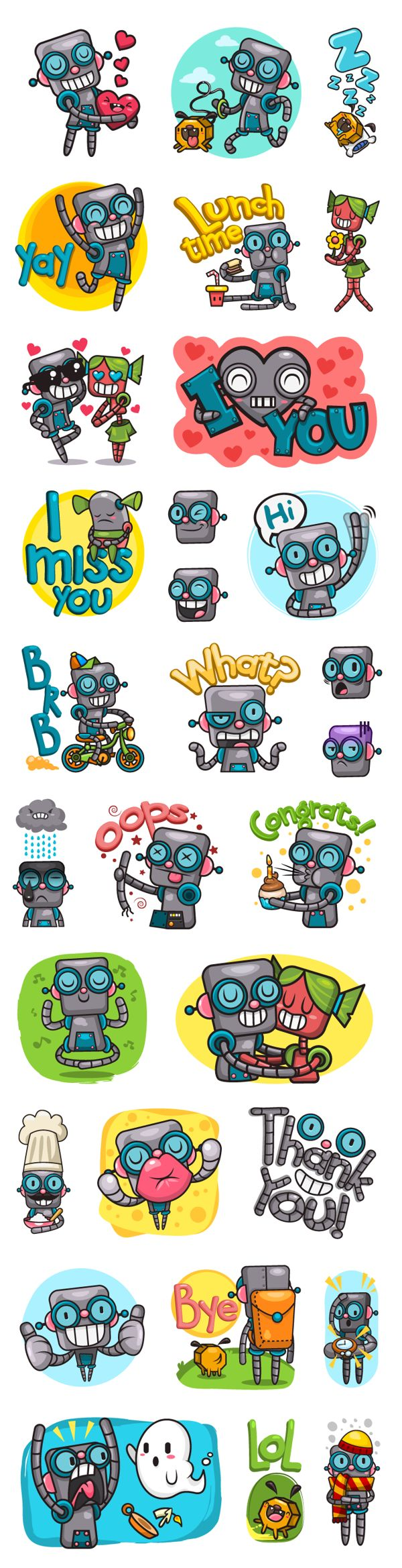 Viber Robot Stickers by Claudia Murillas, via Behance