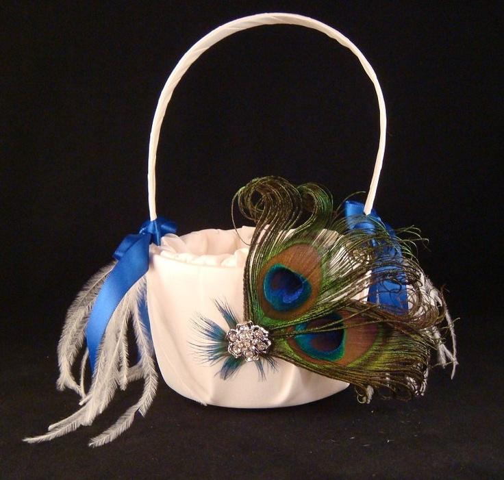 Peacock Wedding Ideas Etsy: Peacock Flower Girl Basket With Blue Satin Ribbon