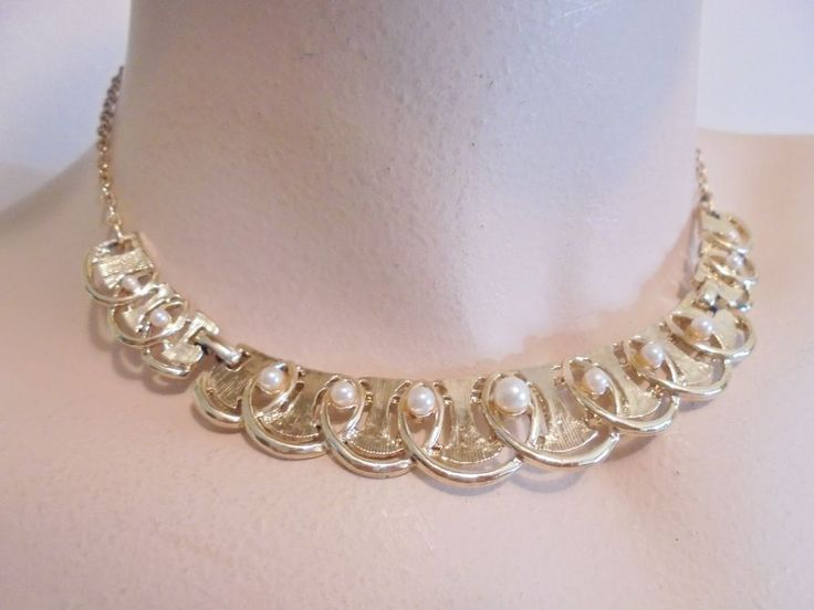 Vintage Collar Necklace Faux Pearls Gold Plated Tone Retro Bridal Bride Jewelry  #Unbranded #Collar