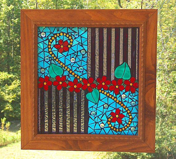 Abstract Mosaic Panel / Suncatcher  Original by by BeadedGlass