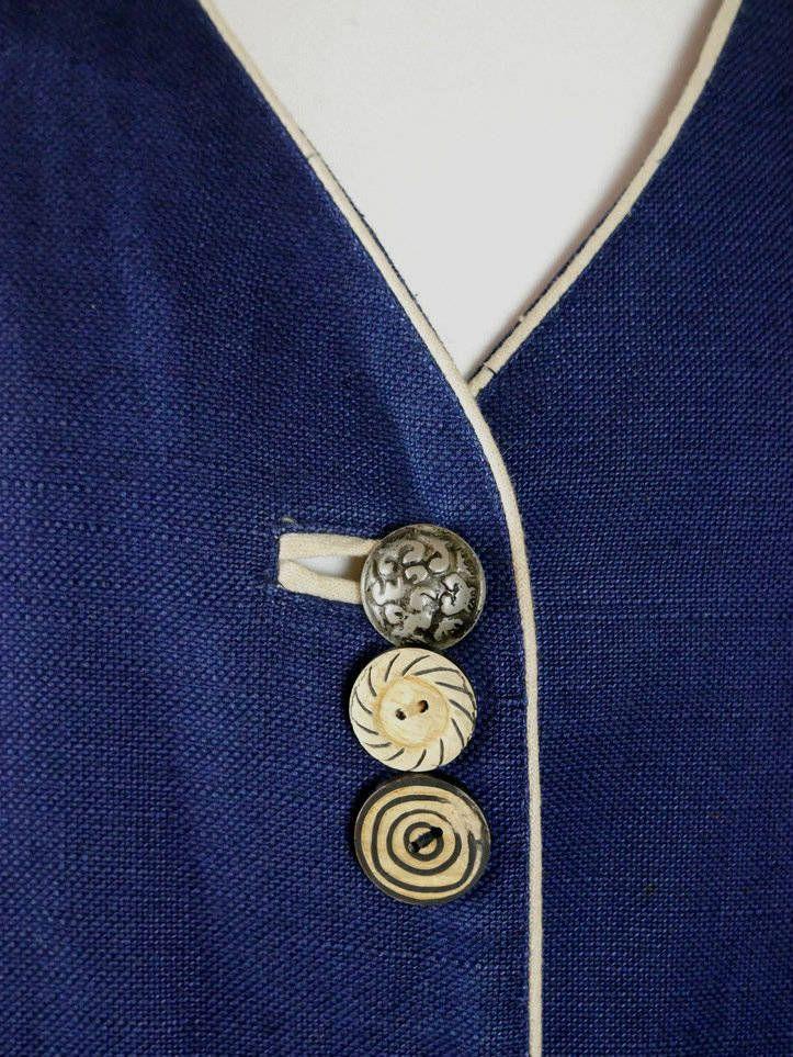 Austrian Vintage Trachten Vest, Navy Blue Linen-Blend Tyrol Waistcoat w Germanic Rune Buttons & Corset Tie Back, Octoberfest: 10 US, 14 UK by YouLookAmazing on Etsy