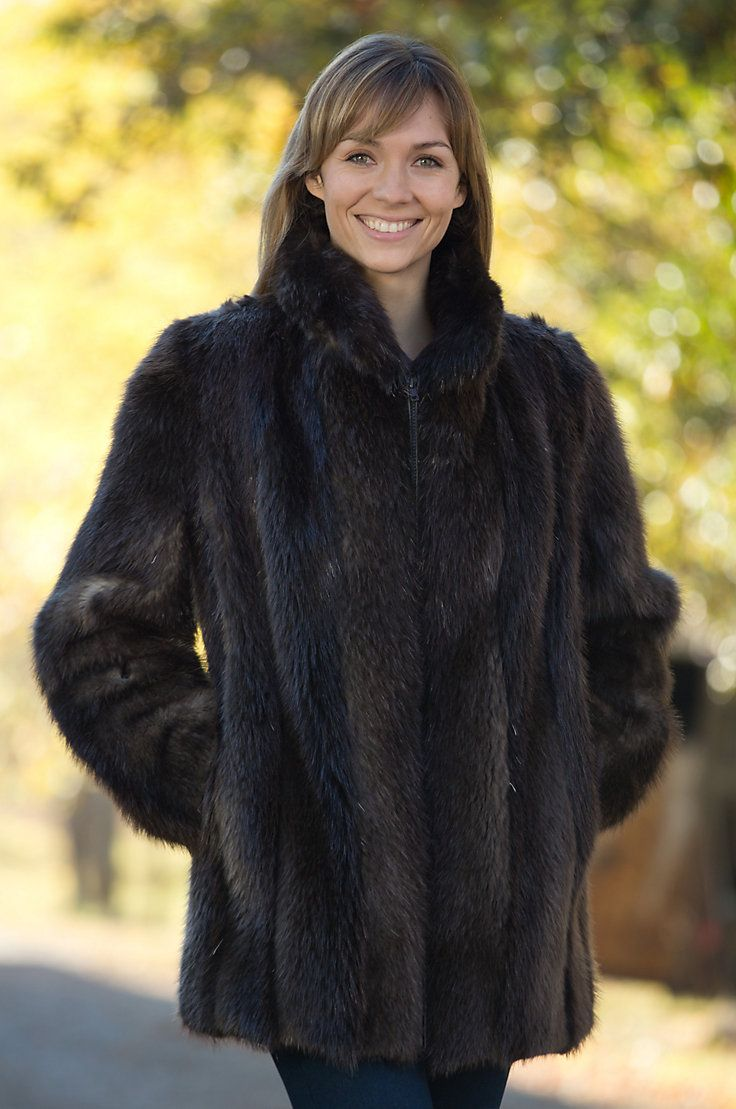 Marisa Long-Haired Beaver Fur Coat with Fox Fur Trim | Fox fur ...