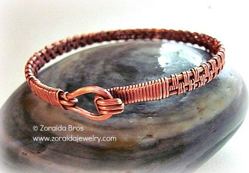 pattern wire copper | Men's Basket Weave Copper Bracelet | zoraida ArtFire Gallery