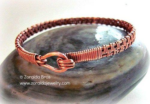 pattern wire copper   Men's Basket Weave Copper Bracelet   zoraida ArtFire Gallery