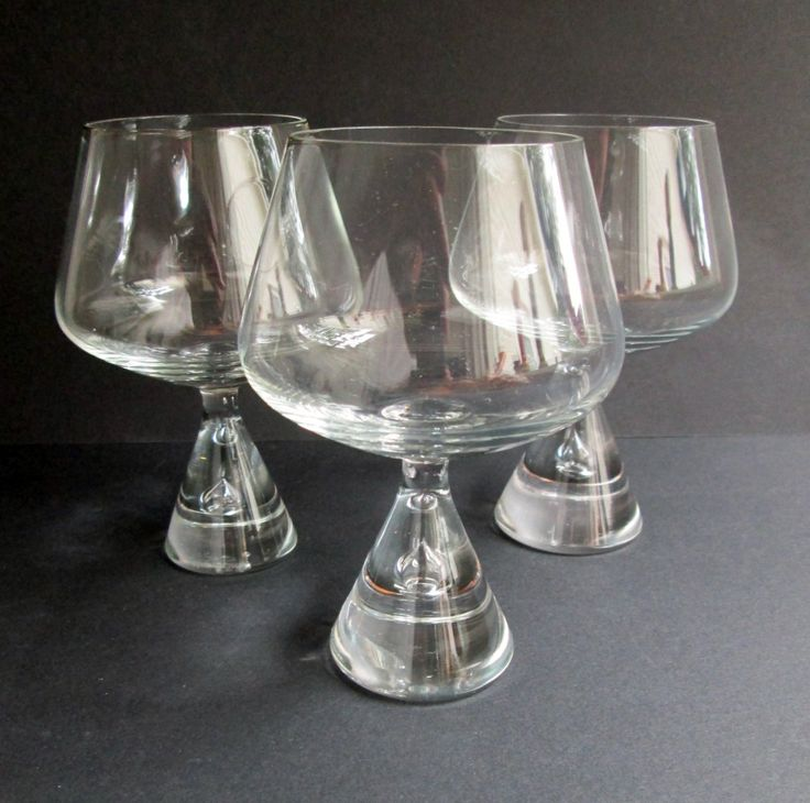 3 Princess iconic crystal cognac or brandy glasses designed 1957 by Bent Severin…