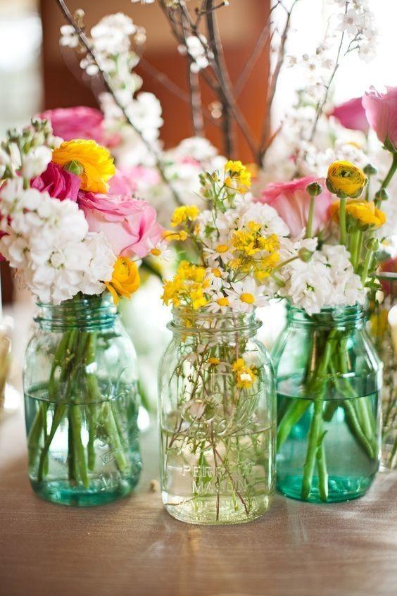 Mason Jar Flower Vases - Ideas For Bohemian Baby Showers - Photos & Mason Jar Flower Vases - Ideas For Bohemian Baby Showers - Photos ...