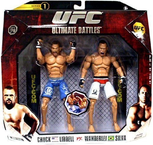 "UFC 79 - Liddell V Silva #1 by Jakks. $12.99. Play or collect. Highly detailed sculpts match those in 7"" DLX scale. Two DLX 7"" figures. Comes with UFC event specific fight card. From the Manufacturer                UFC DLX figure 2 packs comes with figure pairings meant to recreate classic UFC battles. Relive the action of UFC 79 with Chuck Liddell vs Wanderlai Silva.. Save 35% Off!"